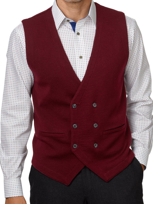 Italian Merino Wool Double Breasted Sweater Vest