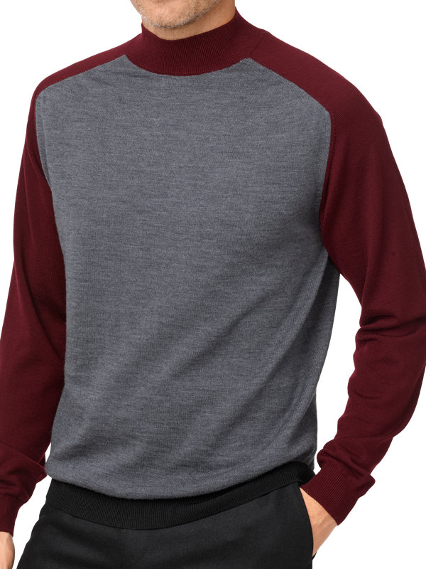 Italian Merino Wool Mock Neck Sweater