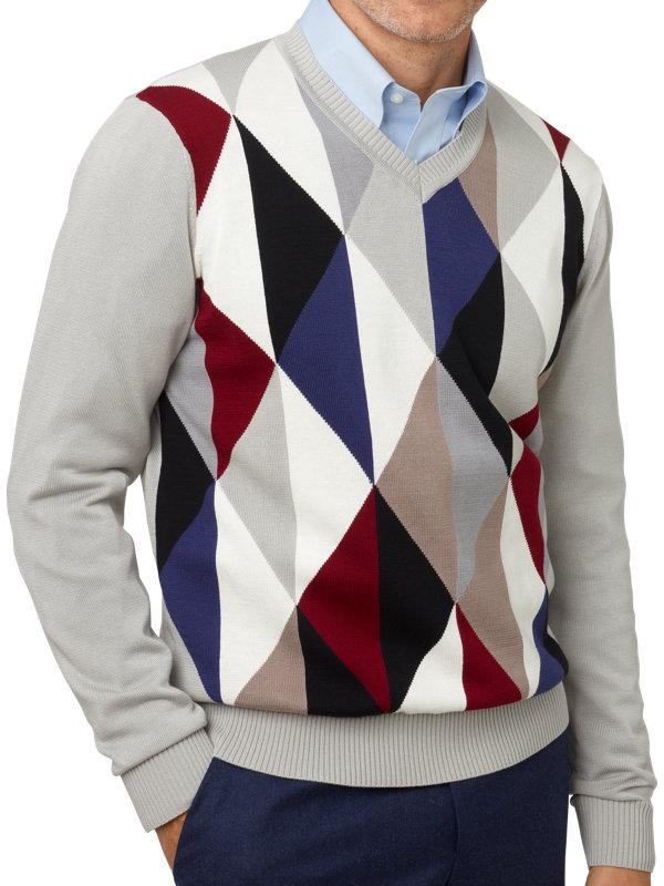 Supima Cotton Geo Pattern V-Neck Sweater