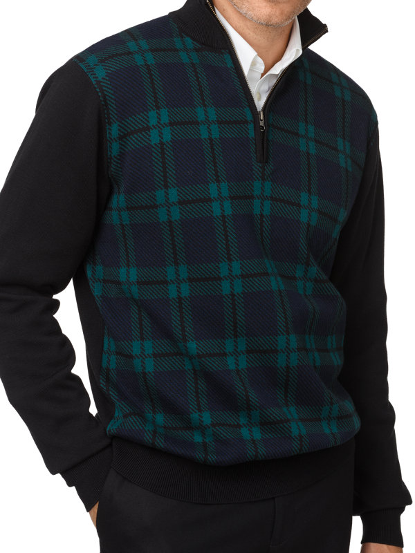 Cotton Plaid Half Zip Sweater