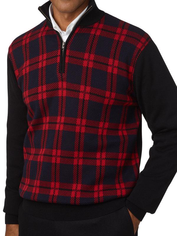 Cotton Plaid Half Zip Sweater