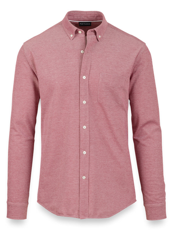 Cotton Knit Solid Button Front Shirt