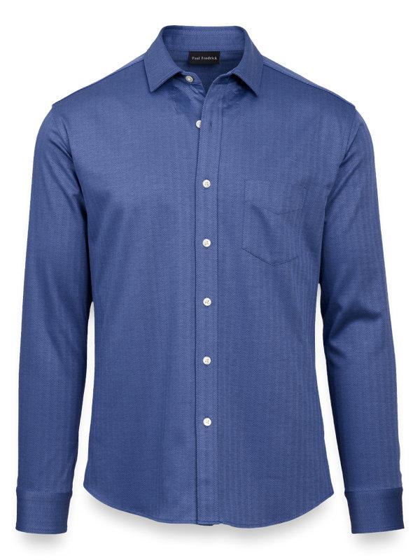 Cotton Knit Herringbone Button Front Shirt