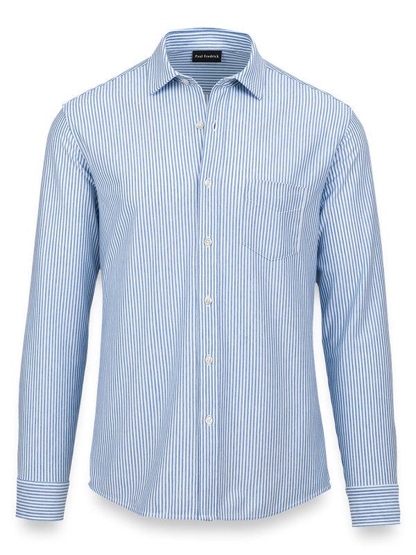 Cotton Knit Stripe Button Front Shirt