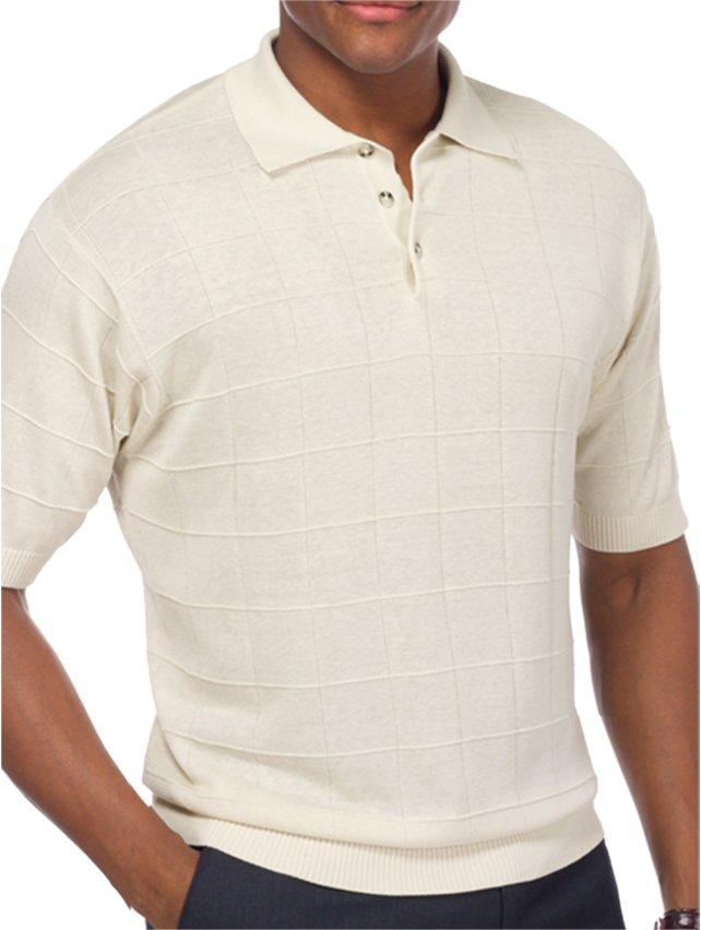 Silk Grid Polo Collar Sweater