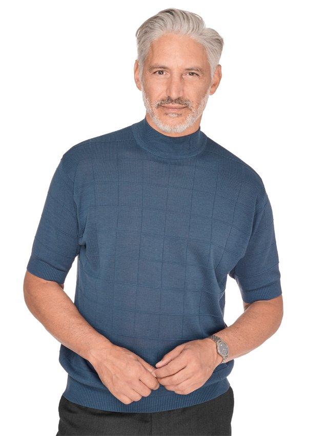 Silk Grid Mock Neck Sweater