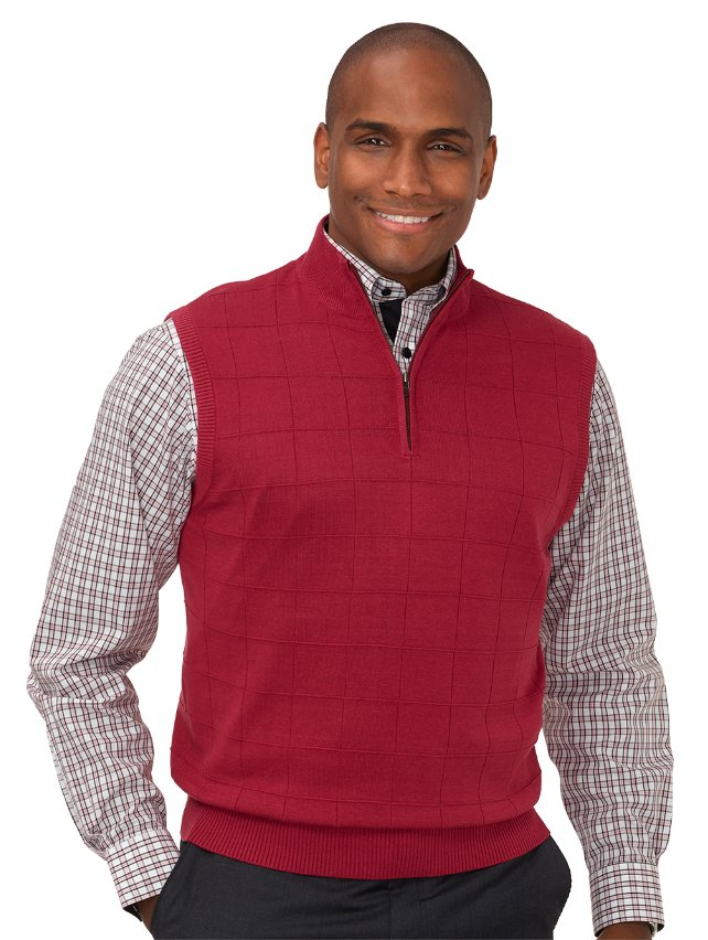 Silk Grid Zip Neck Vest