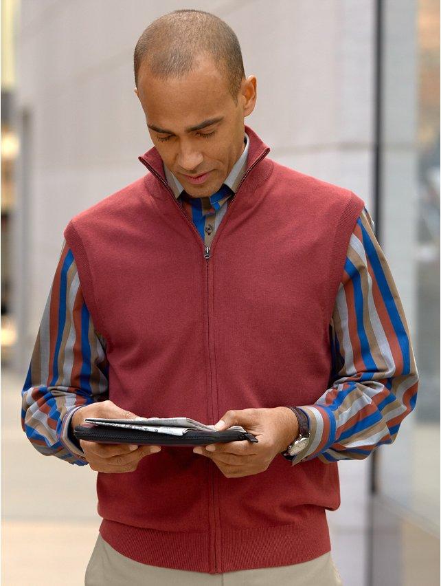 Silk, Cotton, & Cashmere Full Zip Front Vest