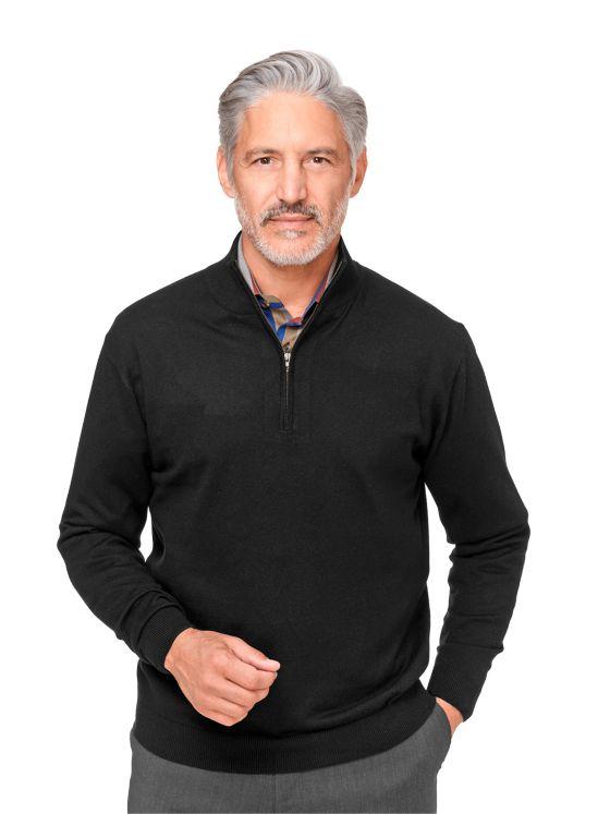 Silk, Cotton, & Cashmere Zip Neck Sweater