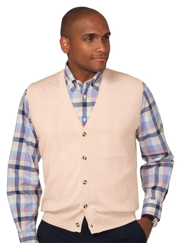 Pima Cotton Button Front Cardigan Vest