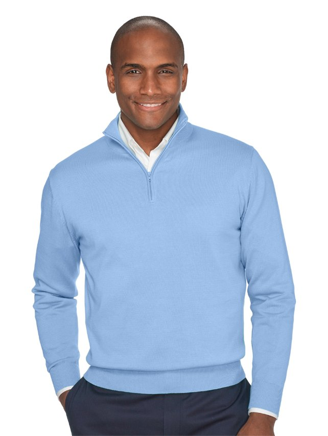 Pima Cotton Zip Neck Sweater