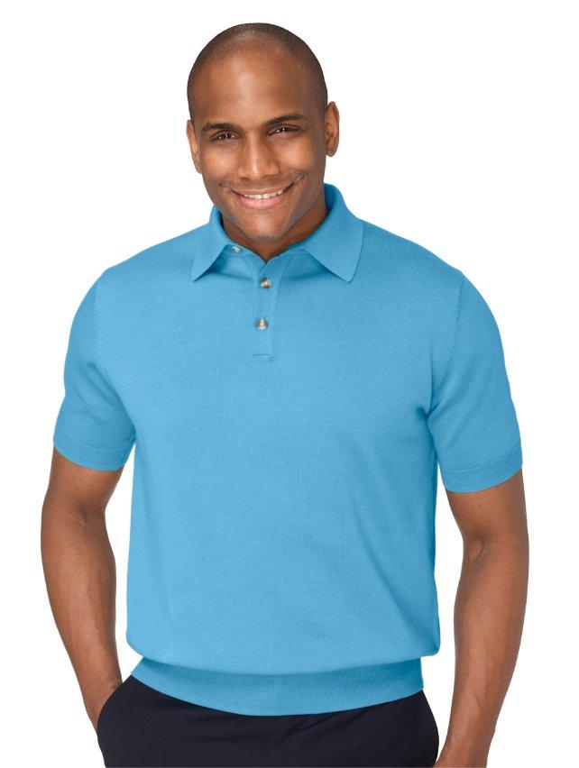 Pima Cotton Polo Collar Sweater
