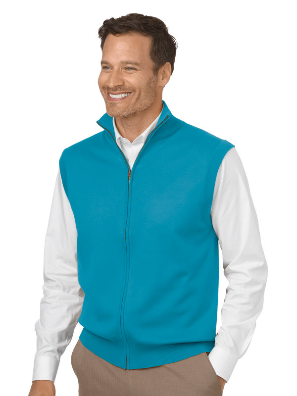 Silk, Cotton & Cashmere Full Zip Front Sweater Vest