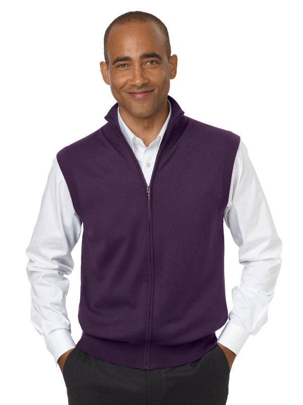 Silk, Cotton & Cashmere Full Zip Front Sweater Vest