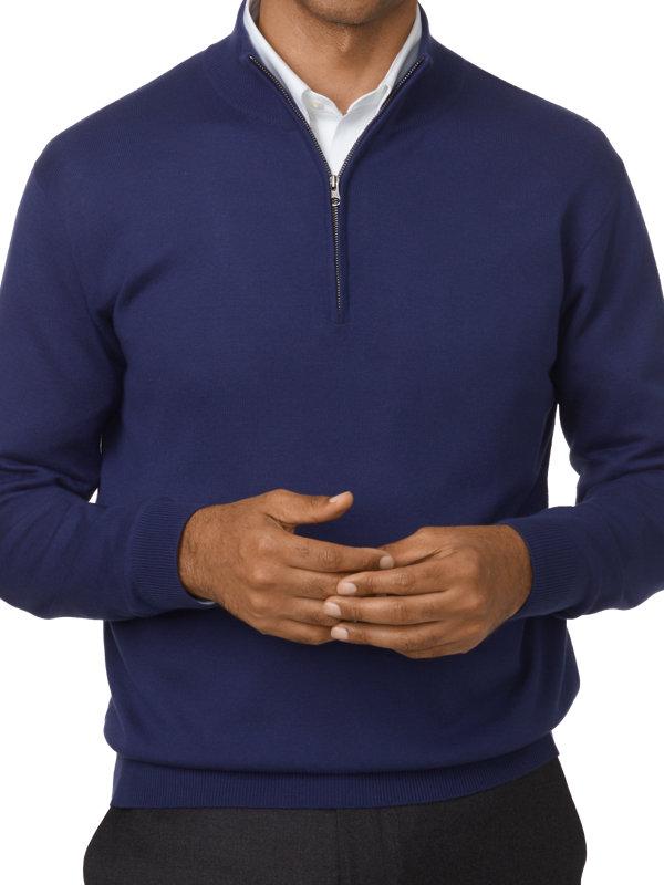 Silk, Cotton & Cashmere Half Zip Neck Sweater