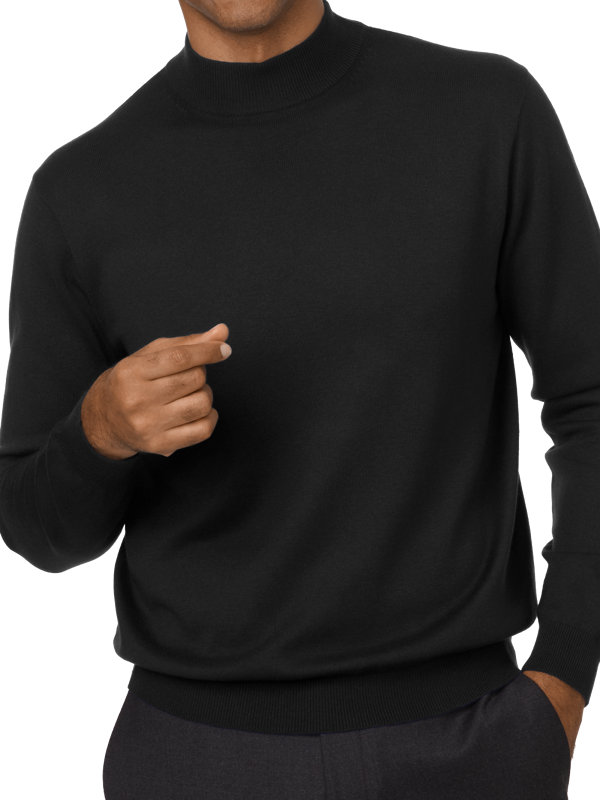 Silk, Cotton and Cashmere Mock Neck