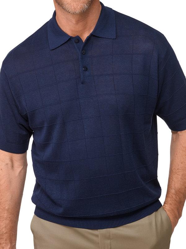 Silk Grid Pattern Fine Gauge Polo Collar Sweater