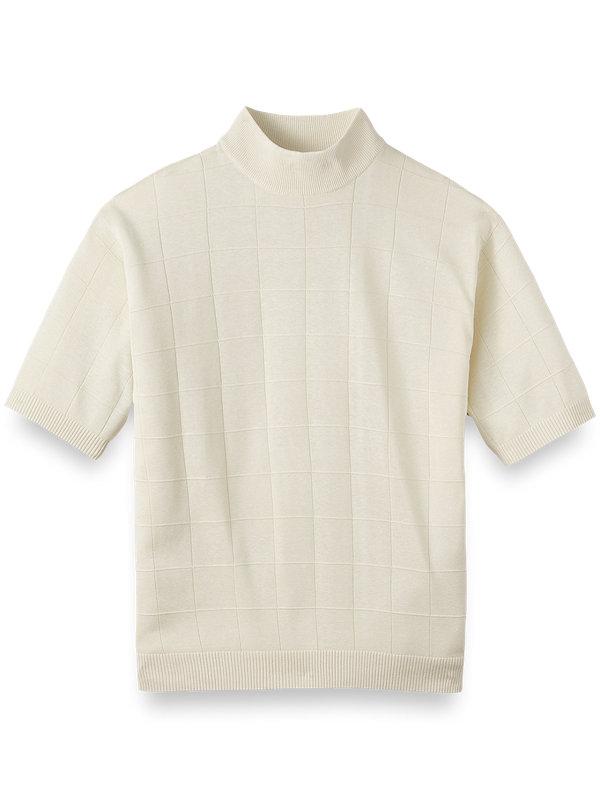 Silk Grid Short Sleeve Mock Neck Sweater