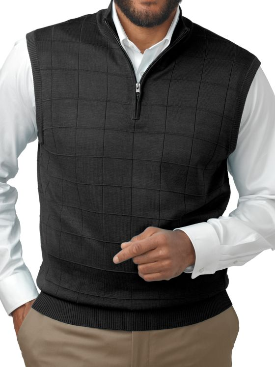 Silk Grid Half Zip Vest