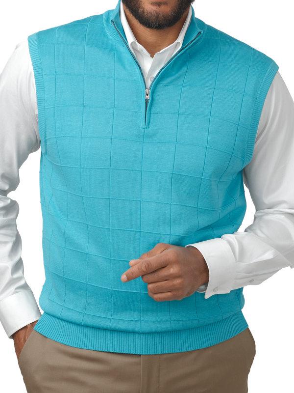 Spun Silk Half Zip Sweater Vest