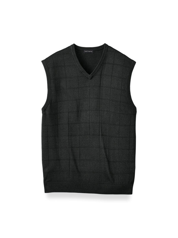 Silk Grid V-neck Vest