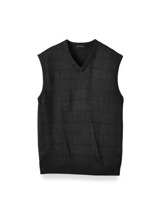 Silk Grid V-neck Vest