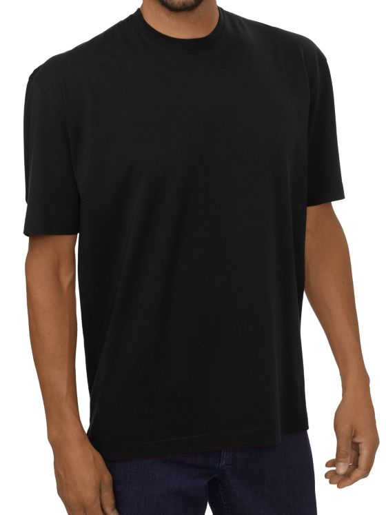 Cotton and Silk Short Sleeve Solid Crew