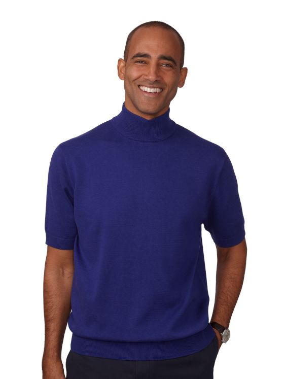 Pima Cotton Short Sleeve Mock Neck Sweater