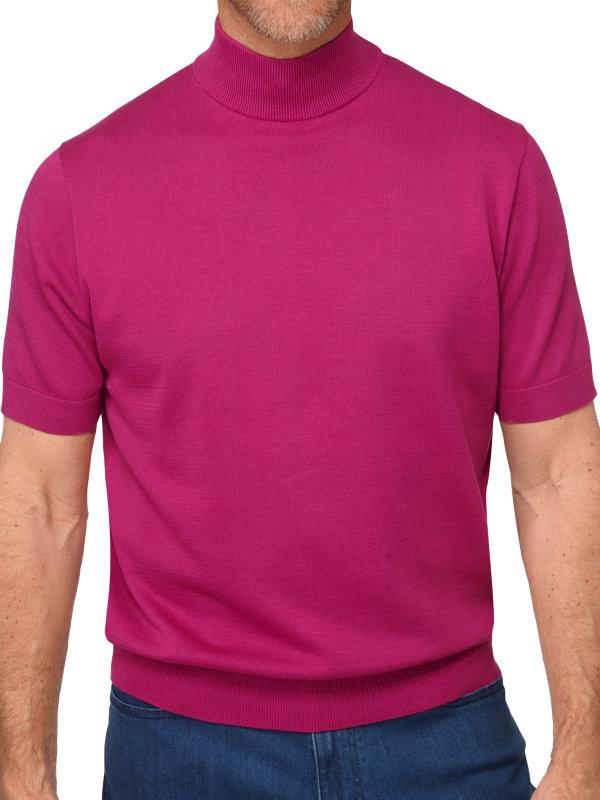 Supima Cotton Short Sleeve Mock Neck