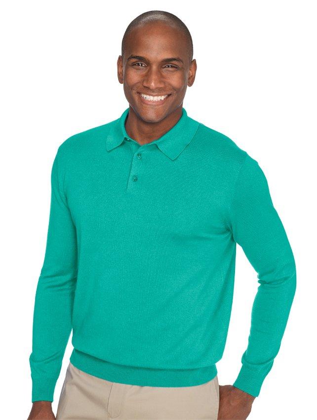 Silk, Cotton, & Cashmere Polo Collar Sweater