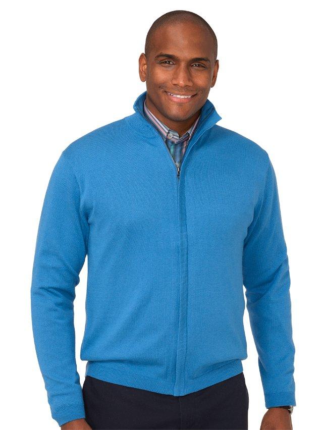 Silk, Cotton, & Cashmere Full Zip Cardigan Sweater