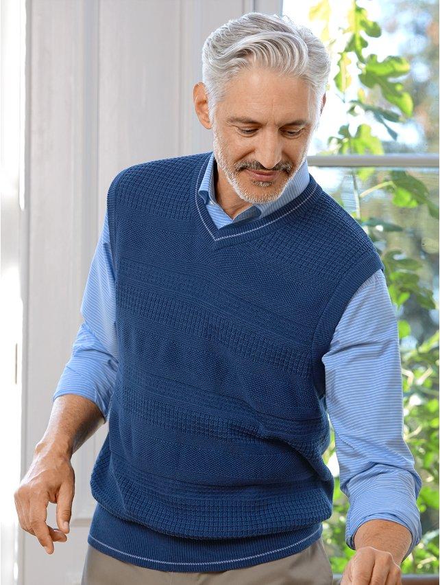 Cotton Textured V-Neck Vest