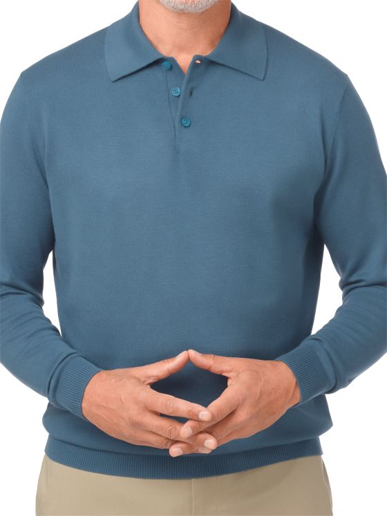 Silk, Cotton & Cashmere Polo Collar Sweater