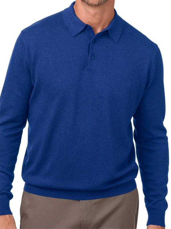 Silk, Cotton & Cashmere Long Sleeve Polo