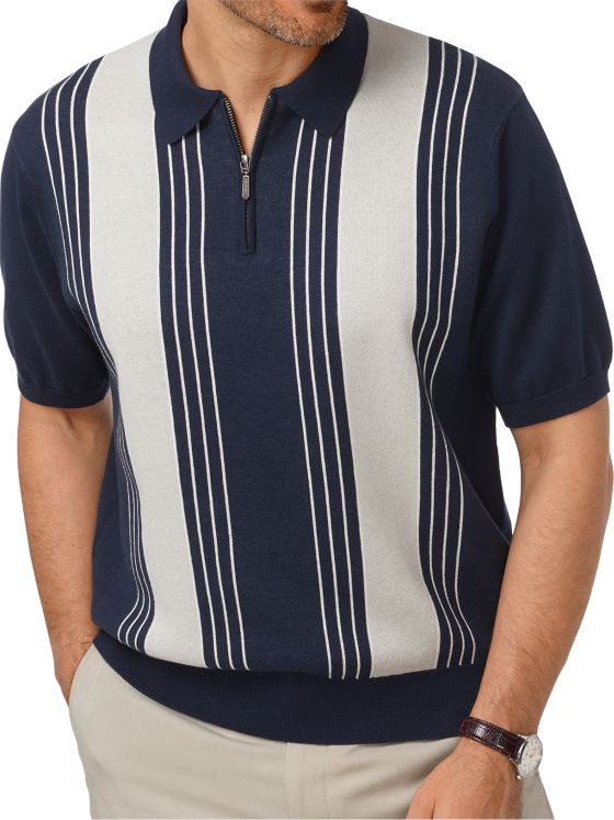 Cotton Zip Neck Short Sleeve Sweater