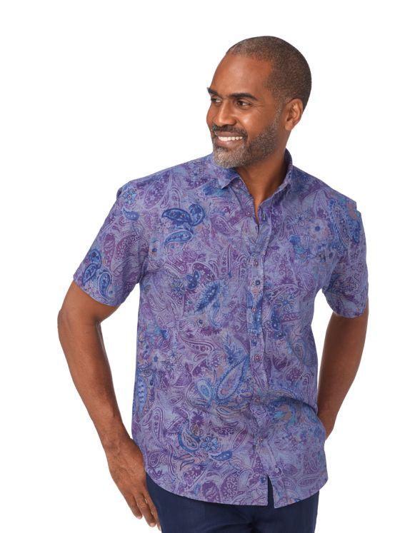 Cotton Paisley Short Sleeve Polo