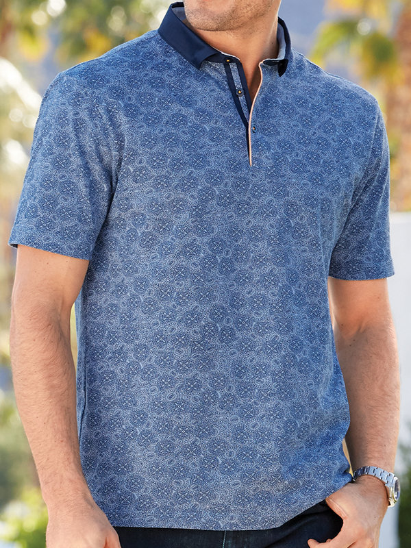 Cotton Medallion Short Sleeve Polo