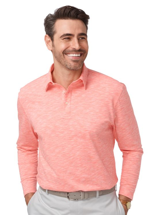 Cotton Heathered Long Sleeve Polo