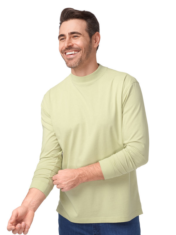 Cotton and Silk Long Sleeve Mock
