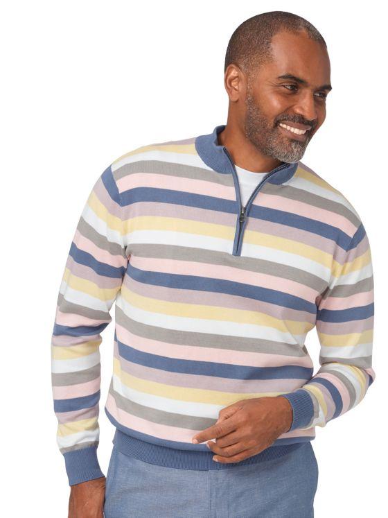 Pima Cotton Stripe Half Zip Sweater