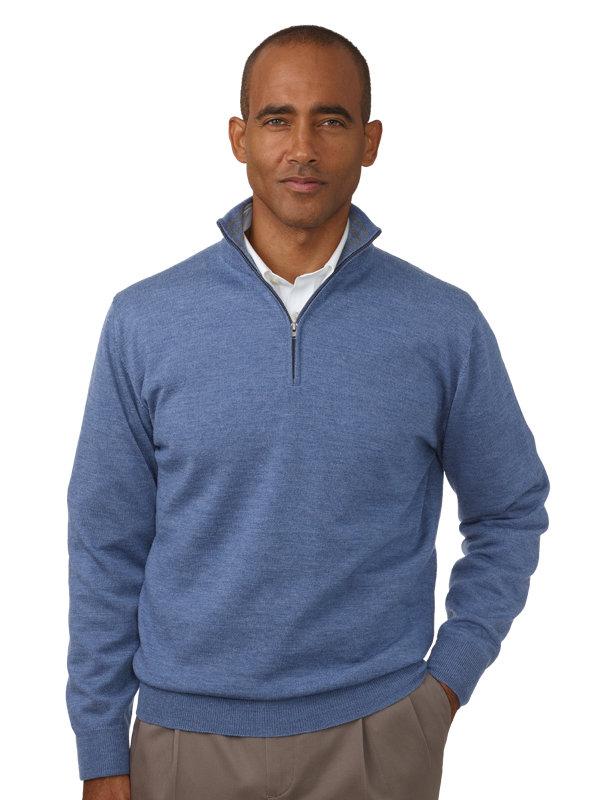 Italian Merino Wool Half Zip Sweater