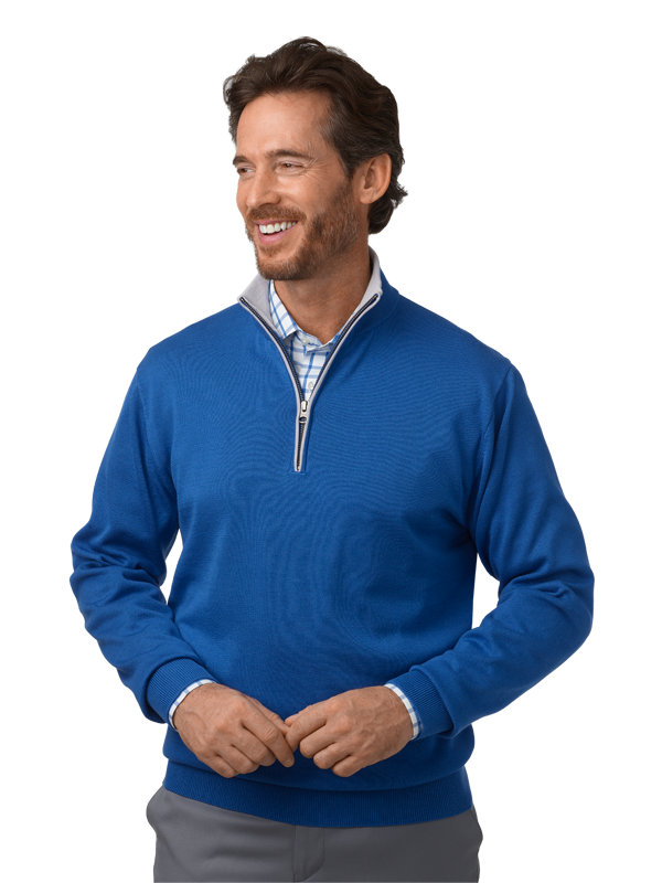 Supima Cotton Half Zip with Tipping