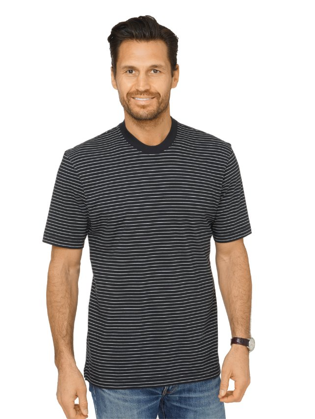 Cotton & Silk Stripe Crewneck T-Shirt