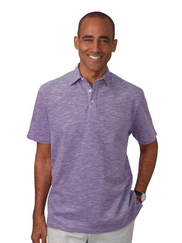Cotton Heathered Pique Polo Collar Shirt