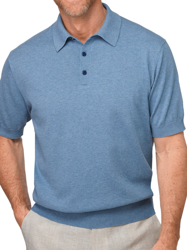 Short Sleeve Cotton Heathered Polo