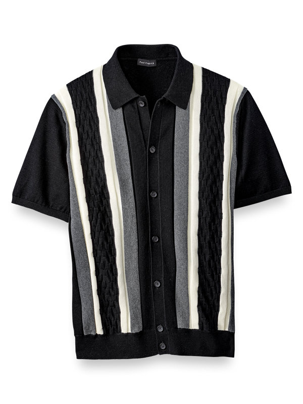 Patterned Button Front Polo