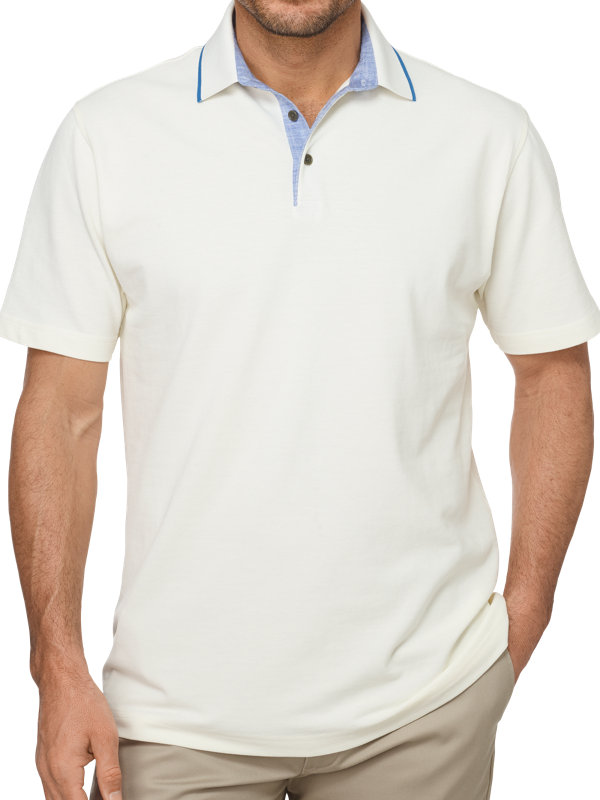 Cotton Pique Polo With Chambray Tipping