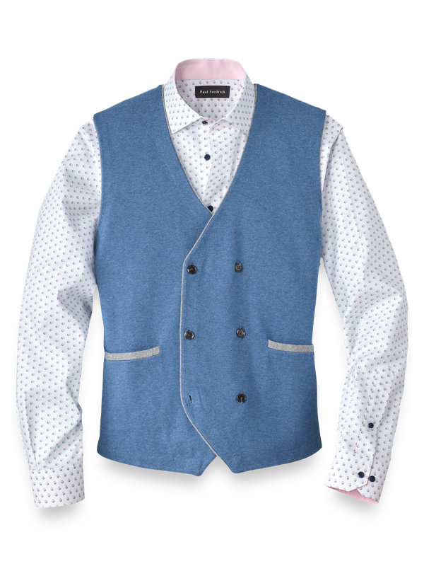 Cotton Double Breasted Sweater Vest