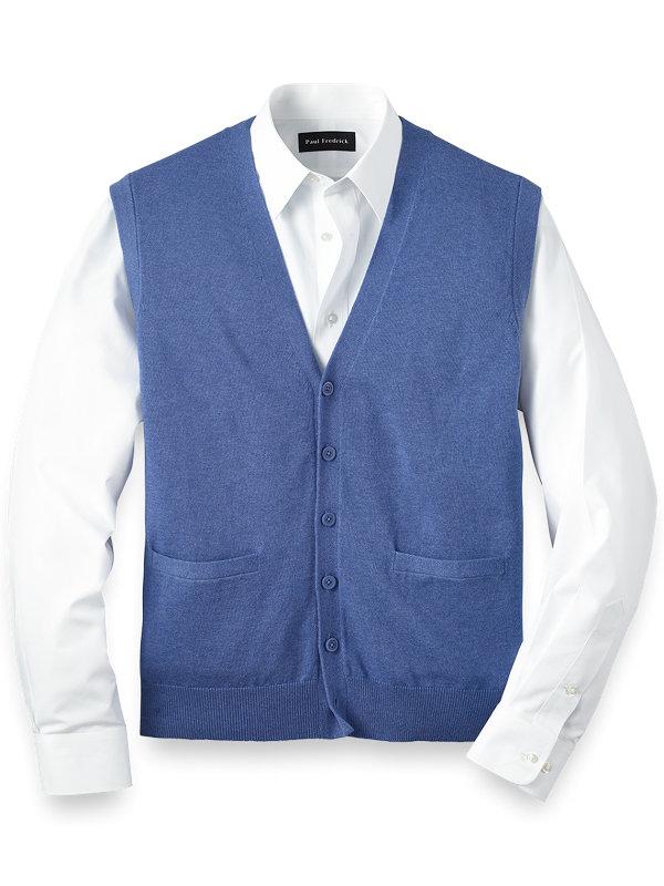 Supima Cotton Solid Button Front Vest