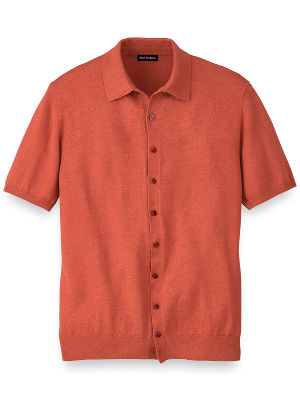 Silk Cotton And Cashmere Button Front Polo